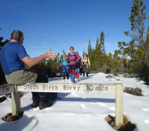 Ted points the way to Black Birch Bivvy