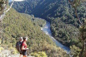 Geraldine and Julia, high above the Mohaka, with the lodge almost in sight