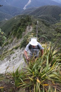 The author climbing up the section by the slip, Photo - Keith Moretta
