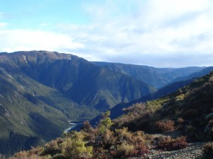The view of the Ngaruroro River from the Smith Russell Track, looking west towards Te Iringa