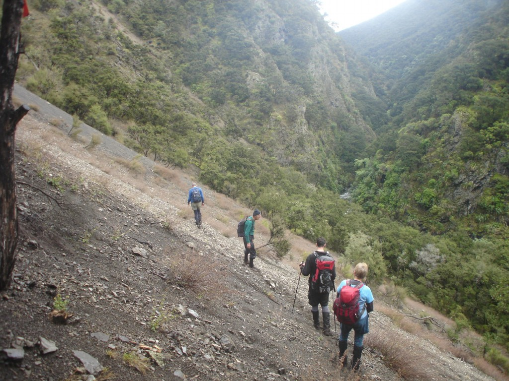 Searching for the track marker nearing Koau Stream, L to R Ted Angove,Simon Hill Marc Marchal and Isobel Holdaway