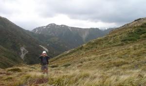 The author, with the Hikurangi Range with snow on the far horizon
