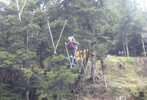 John Dobbs having fun on the three-wire bridge