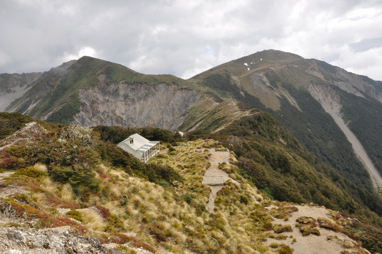 Sunrise Hut, with Patiki on the right horizon
