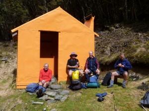 Ted, Matt, John and Murray enjoying the sunshine at Studholme Hut. Photo by Geoff.