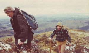 A tramp in 1976. Trampers are: Ross Keating and Peter Lewis