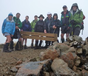 The wet but still smiling trampers to Top Maropea Hut