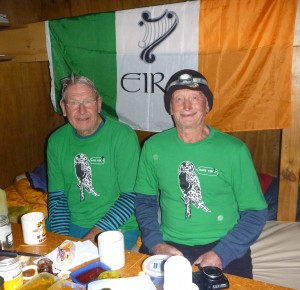 The hut wardens, Ted and Paul in their green garb