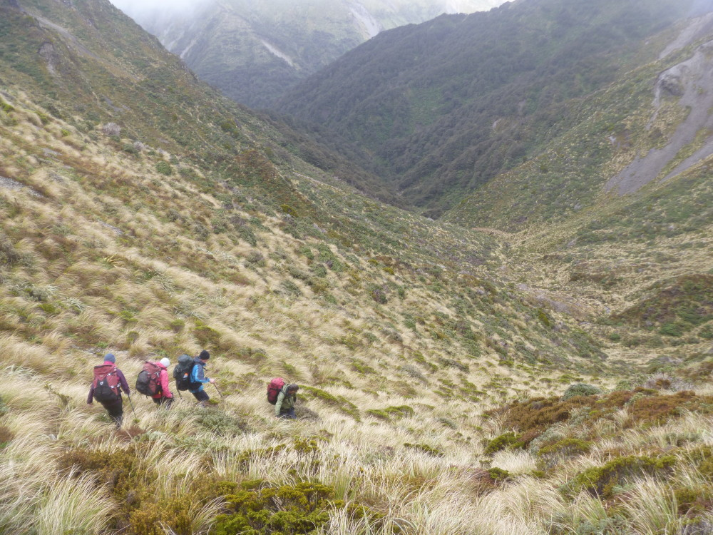 Heading down from Rangi Saddle on a windy day but with much more visibility