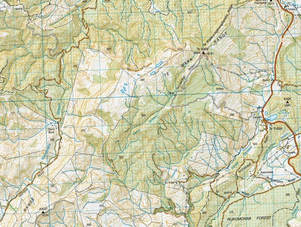 Topo map of the Te Waka Range